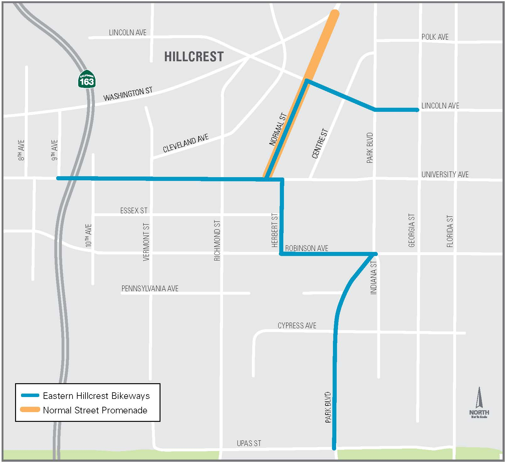 Eastern Hillcrest Bikeways – Project Map (English)