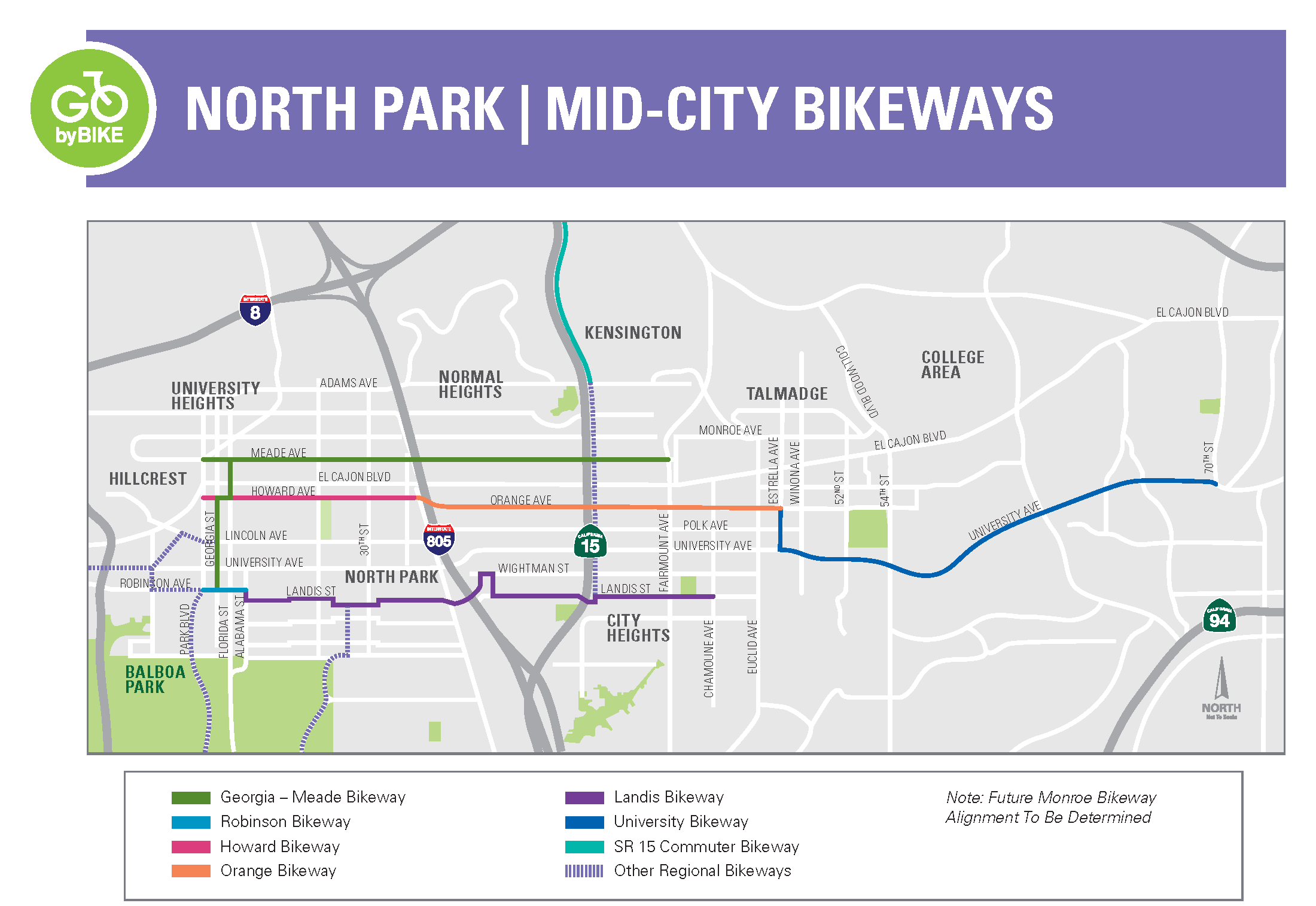 North Park Mid-City Bikeways Project Map in English