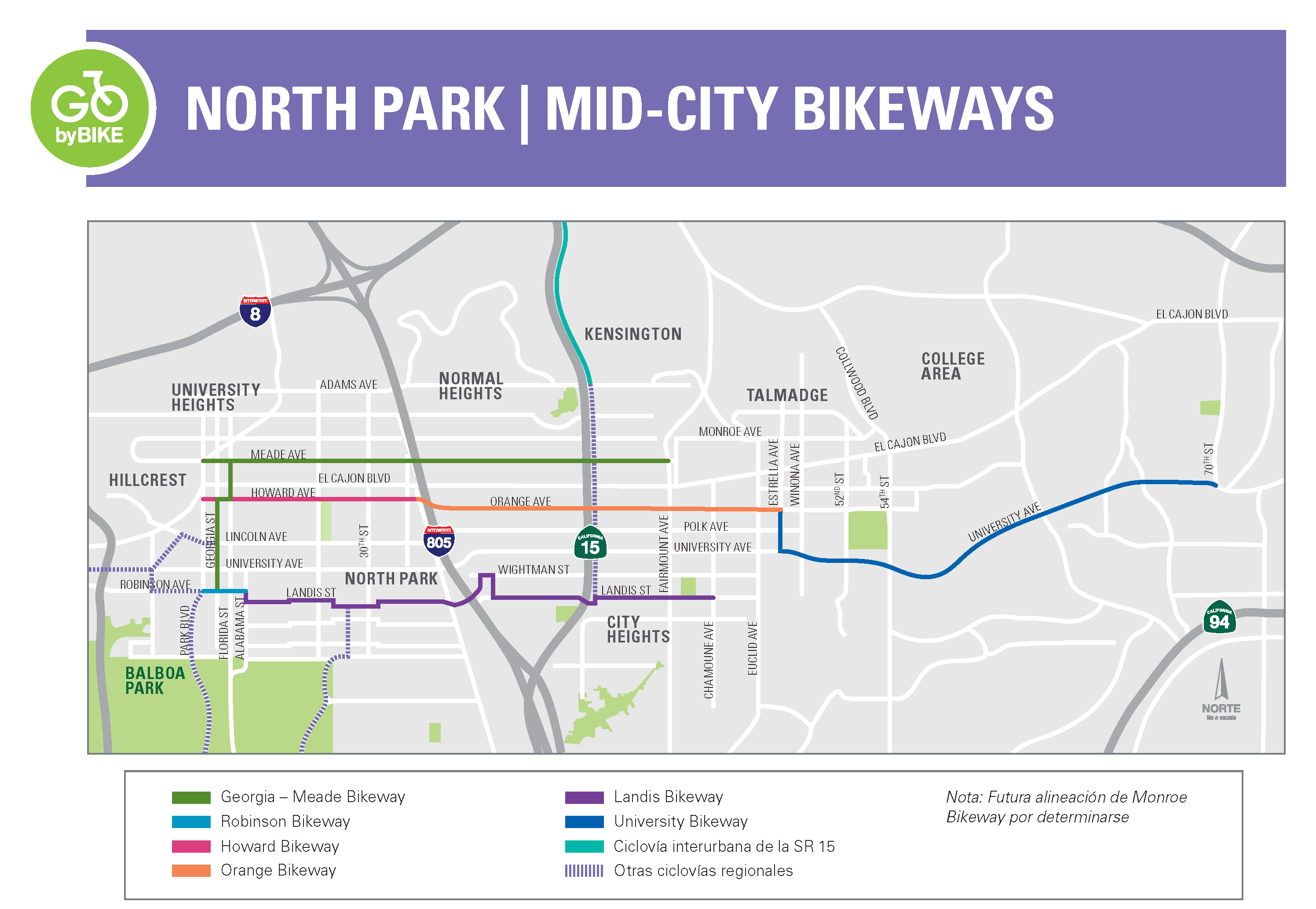 North Park Mid-City Bikeways Project Map in Spanish
