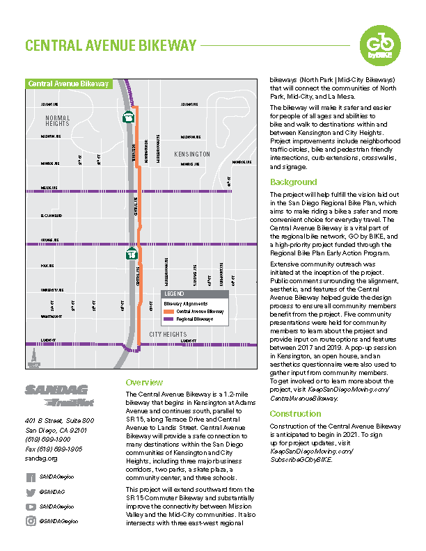 View the Central Avenue Bikeway project fact sheet in English.