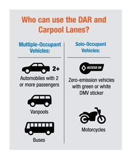 Who can use the DAR and carpool lanes?