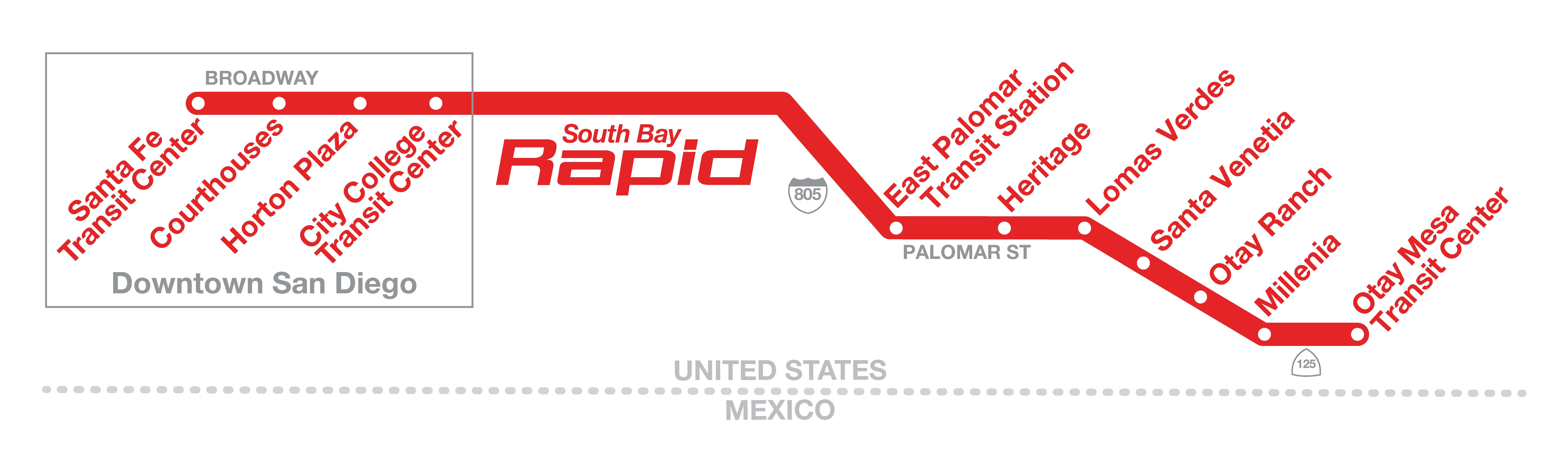 South Bay Rapid Route Map